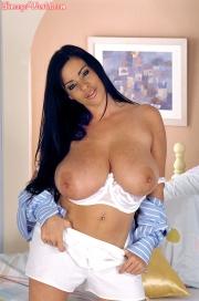 Linsey Dawn McKenzie Huge Tits in White Bra at bedtime 010