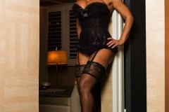 Lisa Ann Big Tits Black Basque, Stockings and High Heels 003