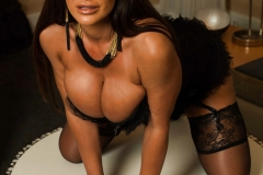 Lisa Ann Big Tits Black Basque, Stockings and High Heels 005