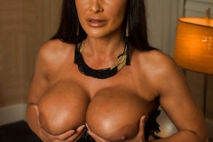 Lisa Ann Big Tits Black Basque, Stockings and High Heels 006