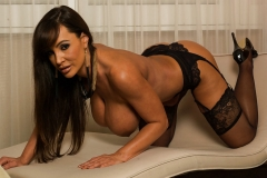 Lisa Ann Big Tits Black Basque, Stockings and High Heels 008