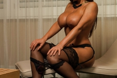 Lisa Ann Big Tits Black Basque, Stockings and High Heels 014