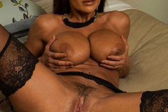 Lisa Ann Big Tits Black Basque, Stockings and High Heels 019