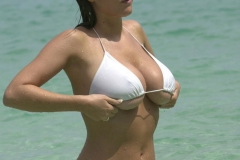 Lucy Pinder Big Boobs White Bikini Beach Shots 06