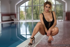 Margot Big Boobs Naked in High Heels at the Pool 002