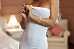 Maria Big Boobs in White Seethrough Dress for Photodromm 001