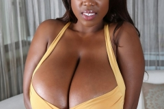 Maserati Massive Breasts Spilling out of Tight Yellow Dress 001