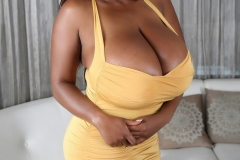 Maserati Massive Breasts Spilling out of Tight Yellow Dress 004