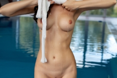 Melanie Big Naked Tits White Shirt at the Pool for Photodromm 006