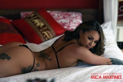 Mica Martinez Big Boobs Black Lingerie on a Bed 002