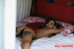 Mica Martinez Big Boobs Black Lingerie on a Bed 010