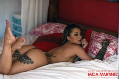 Mica Martinez Big Boobs Black Lingerie on a Bed 011
