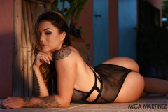 MIca Martinez Big Tits in Black Mesh Swimsuit 009