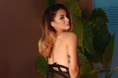 MIca Martinez Big Tits in Black Mesh Swimsuit 016