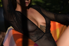 Mica Martinez Naked Boobs Black Lace Bodystocking 001