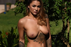 Mica Martinez Naked Boobs Black Lace Bodystocking 007