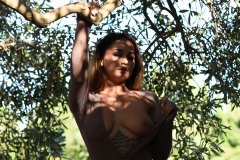 Mica Martinez Naked Boobs Under a Tree 006