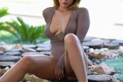 Mica Martinez Naked Boobs Under a Tree 010