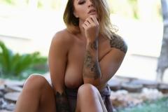 Mica Martinez Naked Boobs Under a Tree 013