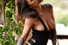 Mica Martinez Nice Boobs Sexy Black Cutout Dress 013