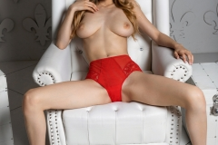 MIla Azul Naked Boobs in Red Bra and Panties for Photodromm 021