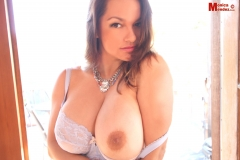 Monica Mendez Huge Boobs in White Bra 010