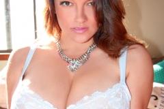 Monica Mendez Huge Boobs in White Bra 025