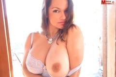 Monica Mendez Huge Boobs in White Bra 032