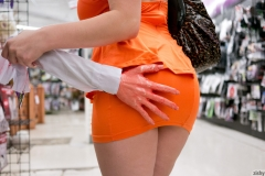Noelle Easton Big Cleavage Tight Orange Minidress 06