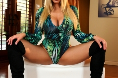 Olivia Austin Big Boobs Green Body and Black Thigh High Boots 008