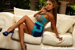 Priya Rai Big Tits Sexy Blue Dress 010