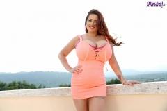 Rachel-Aldana-Huge-Tits-in-Tight-Orange-Minidress-004