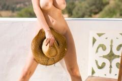 Rhian Sugden Big Boobs Cowboy Hat and Denim Shorts 007