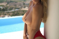 Rhian Sugden Big Tits Topless by the Pool in the Sunshine 02