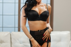 Romi Rain Big Boobs in Sexy Black Lingerie and Stockings 01