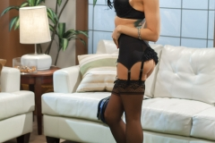 Romi Rain Big Boobs in Sexy Black Lingerie and Stockings 03