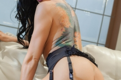 Romi Rain Big Boobs in Sexy Black Lingerie and Stockings 12