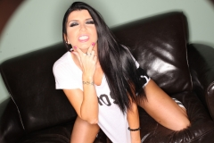 Romi Rain Big Boobs in White Tshirt and Little black Shorts 003