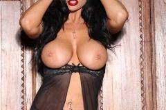 Romi Rain Big Tits in Very Slinky Lacy Black Dress 017