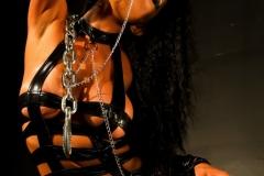 Romi Rain Big Tits Leather Chains and Fishnets 002