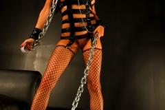 Romi Rain Big Tits Leather Chains and Fishnets 003