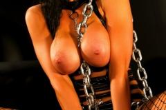 Romi Rain Big Tits Leather Chains and Fishnets 005