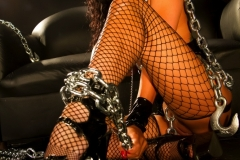 Romi Rain Big Tits Leather Chains and Fishnets 006