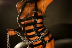Romi Rain Big Tits Leather Chains and Fishnets 008