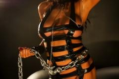 Romi Rain Big Tits Leather Chains and Fishnets 009