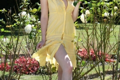 Rosie Danvers Big Boobs in a Yellow Dress in the Garden 001