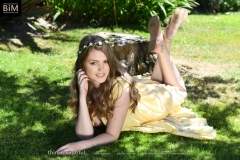 Rosie Danvers Big Boobs in a Yellow Dress in the Garden 006