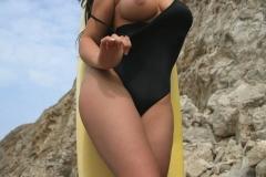 Samantha Buxton Big Boobs Black Swimsuit 01