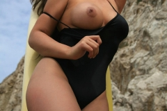 Samantha Buxton Big Boobs Black Swimsuit 02