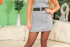 Samantha F Nice Boobs in Tight Grey Secretary Dress for Only Secretaries 001